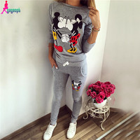 Gagaopt 2016 Autumn Women Tracksuit Printed Lovely Mickey Sweatshirt+Pant New Vintage Femme 100% Cotton High Quality Women Suits