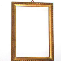 Vintage Wood Picture Frame/ Flowery Ornament Photo frame/ Antique golden frame/ wooden picture frame / golden tone / time worn shabby / Rare