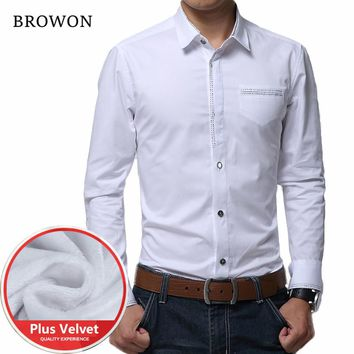 Winter Shirts Thick Velvet Long Sleeve Casual Warm Solid Shirt Men Slim Fit Male