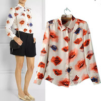 Lips Print Long Sleeve Shirt Collar Blouse