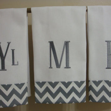 Chevron Grey Hand Towel with One Large Initial by sandysstitches2
