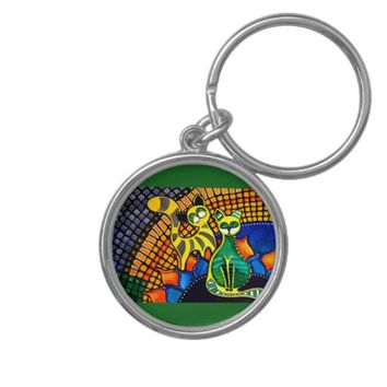Cheer Up My Friend Colorful Rainbow Cat Design Keychain