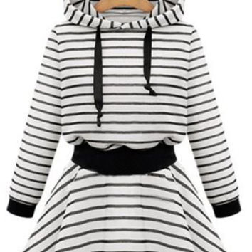 Striped Hooded Long Sleeve Flounce Hoodie Dress