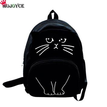 School Backpack MOJOYCE Lovely Cat Printing Backpack Women Canvas Backpack School Bags For Teenagers Ladies Casual Cute Rucksack Bookbags AT_48_3