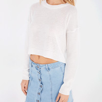 Lightweight Cropped Crew Neck Pullover Sweater | Wet Seal