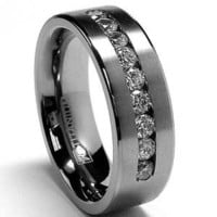 8 MM Men's Titanium ring wedding band with 9 large Channel Set CZ sizes 7 to 15: Jewelry: Amazon.com