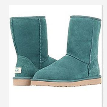 UGG Short boots antiskid warm lazy sheep fur simple ugg boots canister boots Fresh Green