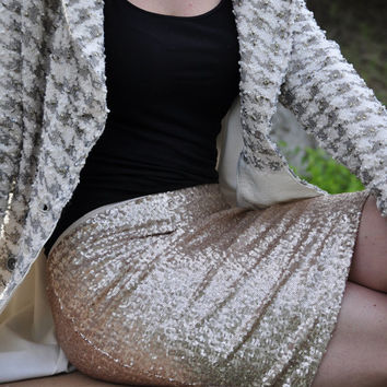 Matte Gold Pencil Sequin Skirt - Stretchy, beautiful above knee length skirt (Small, Medium, Large, XLarge)