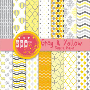 Yellow and gray digital paper pack with yellow gray patterns and yellow gray digital paper backgrounds