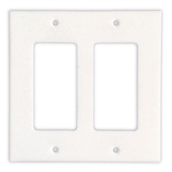 Thassos White Marble Double Rocker Switch Wall Plate / Switch Plate / Cover - Honed