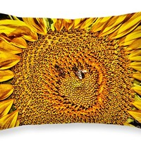 "Bees On Sunflower HDR 20"" x 14"" Throw Pillow for Sale by Robert Frederick"