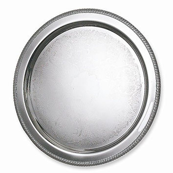 Silver-plated 20 Round Fancy Edge Tray