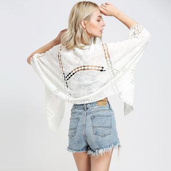 Boho Hippie Kimono Embroidery Crochet Women Outerwear Top Batwing Sleeves Cover Up Cardigan Casual Beach Jacket