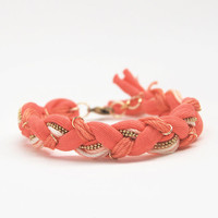 Coral boho friendship braid bracelet with chain, orange friendship bracelet from cotton