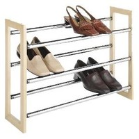 Whitmor Wood & Chrome Shoe Rack Chrome/Natural : Target