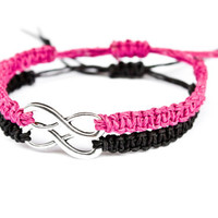 Infinity Bracelets Fuschia and Black for Friendship or Couples