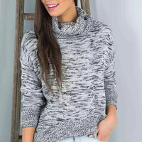 Gray Turtleneck Knitted Sweater