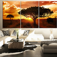 LARGE Wall Art CANVAS Print Africa Savanna Landscape - Wall Art Canvas Africa Tree Nature View Large Canvas Art Paintings