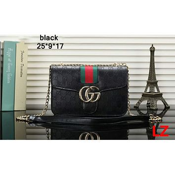 GUCCI new fashion chain Messenger bag wild hit color ribbon classic small square bag F-OM-NBPF Black