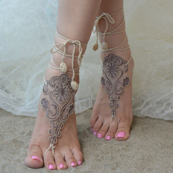 cappuccino, Free ship, barefoot sandals, Beach wedding shoes, bangle beach anklets, barefoot sandals, bridal bride bridesmaid, uniontouch
