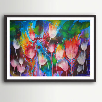 Watercolor Painting, Abstract  Landscape, White flowers, Colourful Wall Decor Large Print,  Modern Art