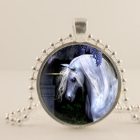 Black and white Unicorn fantasy glass and metal Pendant necklace Jewelry.