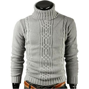 Men Sweater Pullover High Lapel Jacquard Hedging Men's
