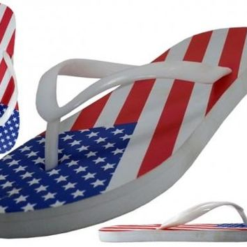 women's u.s. flag print flip flops Case of 48