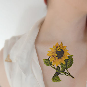 Large vintage Sunflower temporary tattoo - Body art , Colourful, Tattoo, Woodland, Accessories