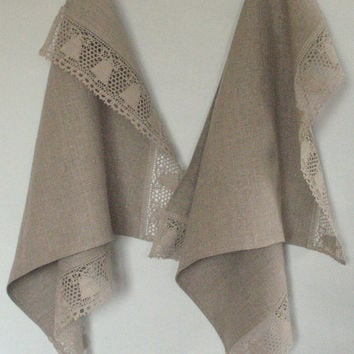 "Linen Towels Dish Towels Tea Towels Burlap Prewashed Christmas Holiday Natural Gray Linen Lace 18"" x 30'' set of 2"