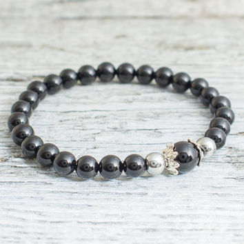 Black onyx beaded stretchy bracelet with silver caps, mens bracelet, womens bracelet