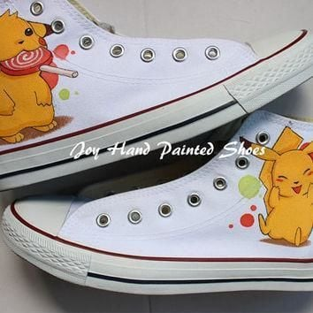 pokemon anime hand painted shoes converse shoes pikachu anime hand painted converse sn