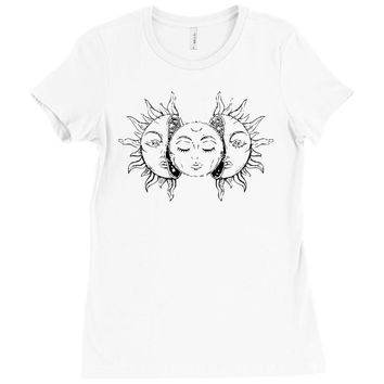 moon and sun Ladies Fitted T-Shirt