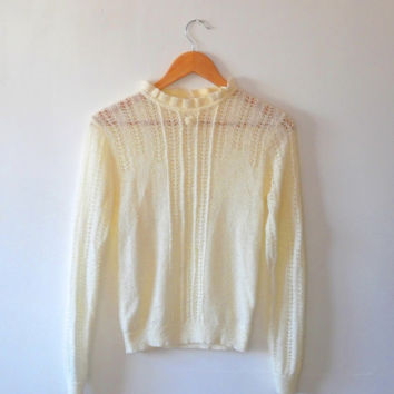 Cream / ivory / lace / fine sknit / summer / crochet / pearl / floral / vintage / 70s / frill / jumper / pull over / sweater top