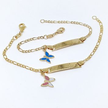 """1-0832-g5 Gold Overlay Kids 6"""" ID Bracelet with Butterfly Charm."""