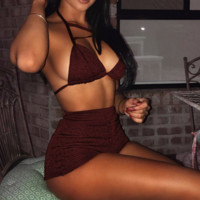 Sexy low chest halter chest cross  bottom high waist two piece