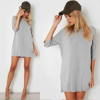 Streetstyle  Casual Grey Draped Elbow Sleeve Round Neck Mini Dress