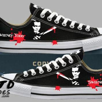 DCKL9 Hand Painted Converse Lo Sneakers. Sweeney Todd. The Barber. Handpainted shoes.