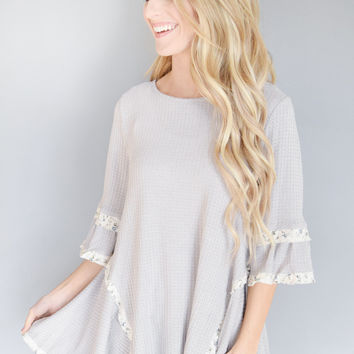 Simple Sunday Ruffle Top Grey Lavender