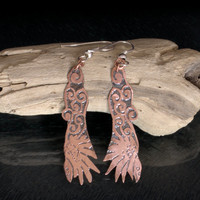Flying Raven Etched Copper Earrings, Antiqued Copper Jewellery, Unique Dangle Earrings