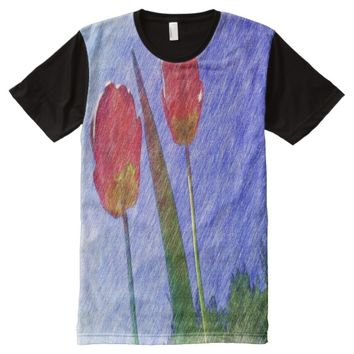 tulip flower drawing All-Over-Print shirt