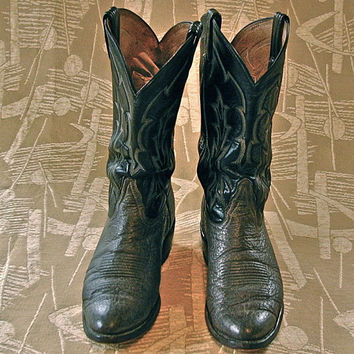 Vintage Boots Tony Lama Rockabilly size 9 Grey and Black Vintage Cowboy Boots