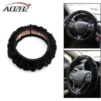 AOZBZ Plush Car Steering Wheel Cover Winter Warm Fuzzy Cover No Need Stitch Soft Accessories for Most 36-38cm Car-styling