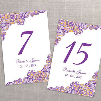 DIY Printable Wedding Table Number Template | Editable MS Word file | 4 x 6 | Instant Download | Purple Orange Henna Design Small Flower