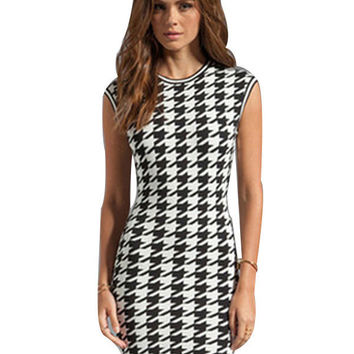 Houndstooth Print Mini Vintage Dress