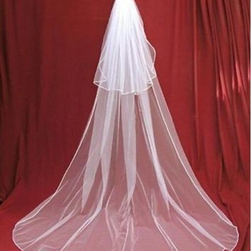 Two Layer Bridal Long with Comb Ribbon White Ivory Wedding Veil