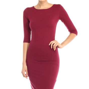 3/4 Sleeve Knit Bodycon Midi Cocktail Dress