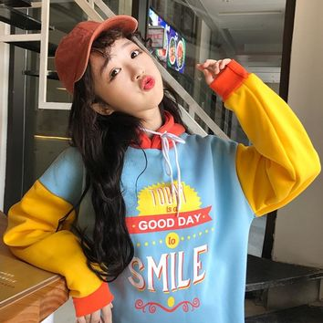 Sweatshirt Femme 2018 Autumn Korean Style Ulzzang Harajuku Sweet Patchwork Fleece Hoodies For Women Casual Hooded Sweatshirts