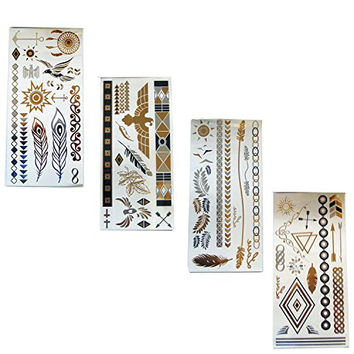 Flash Metallic Tattoos Temporary Tattoos Gold Silver Jewelry Inspired Stickers (4 Pack) 4 Sheets