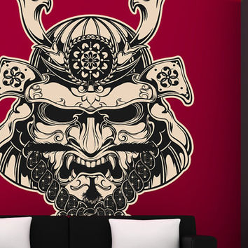 "Samurai Mask Vinyl Wall Decal Graphics 29x41"" Home Decor"